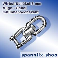 Wirbel-Schäkel 6 mm Auge-Gabel A4 Edelstahl V4A Wirbelschäkel Schäkel Ankerkette
