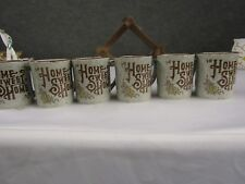 Vintage Home Sweet Home set of 6 Brown &Grey Coffe Mugs with Hanger, Japan