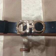 Salvatore Ferragamo two sided Cappuccino/Tan Leather Gold hardware Belt