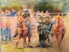 "A-677 Original Watercolor Painting ""Rodeo"" Gift Idea Calgary Stampede Cowboys"