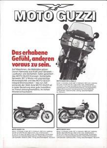 Moto Guzzi V35 V50II 850 Le Mans/850T3 1000/G5/SP/Convert Prospekt brochure 1980
