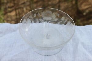 LARGE LOCKE ART POPPIES FOOTED DISH COMPOTE