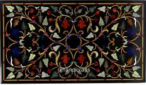 """24 x 42"""" Marble Coffee Table Top Multi Color Gemstones Inlaid Conference table"""