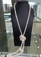 """50"""" HUGE AAA 8-9MM ROUND SOUTH SEA GENUINE WHITE PEARL NECKLACE 14K Gold Clasp"""