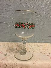 Libbey Holly Berry Red Ribbon Water Goblet Gold Trim multi-sided stem