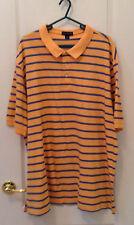 LANDS END Mens Super T Gold & Blue Striped 100% Cotton Polo Shirt XXL 50-52
