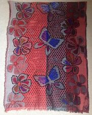 STUNNING RED BLUE & BROWN FLOWER & BUTTERFLY DESIGN PASHMINA