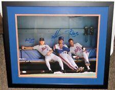 Mets Dysktra, Gooden, and Strawberry signed 16x20 Framed Photo w/ JSA Cert