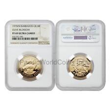 Barbados 1975 Olive Blossom $100 Gold NGC PF69 ULTRA CAMEO