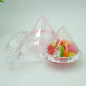 20pcs Lovely Diamond Shape Plastic Candy Box Wedding Favor Boxes Gift Box