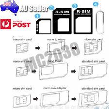 2xSIM Card Adapter Kit Nano Micro Standard Size Converter Tray for Apple&Samsung