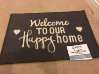 Grey Welcome HOME Shabby Chic WASHABLE DOORMAT DOOR MAT