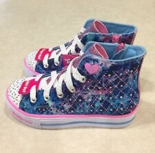 """SKECHERS Shuffles """"Studded Steps"""" Youth Girl's Hi-Top Blue/Pink Sneakers~Size 12"""