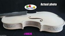 Hand-make Solid Wood unfinished violin 4/4 carving rib and neck #10836