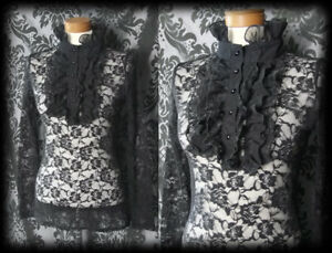 Gothic Black Lace Frill Jabot VICTORIAN GOVERNESS High Neck Blouse 4 6 Steampunk
