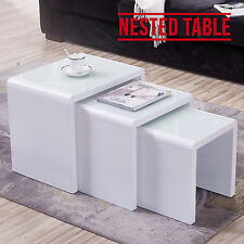 Modern Design High Gloss White + White Glass Nest of 3 Coffee Table Living Room