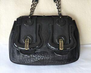 Authentic FENDI B Buckle Black Nappa & Patent Leather Satchel Shoulder Handbag