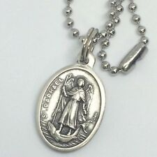 St Raphael Archangel Pendant Necklace 24 inch Stainless Steel Ball Link Chain