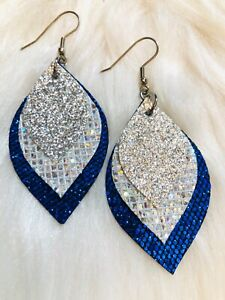 NFL Dallas Cowboys Inspired Blue & Silver Faux Leather Earrings Triple Layer