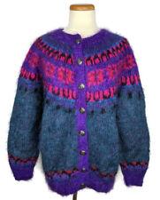 Icelandic Design Mohair Blend Sweater M/L Hand Knit Womens Button Up Blue Purple