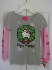 Girls Hello Kitty Gray Pink Christmas Happy Holidays T-Shirt Top Size 4T NWT