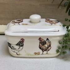 White Country Hen Chickens Ceramic Butter Dish Lidded Kitchen Serving Dish Boxed