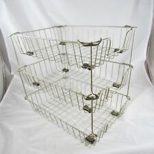 3 Industrial Wire Baskets Desk Organizers Paper Letter Trays Holders Vintage