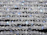 """5 STRAND AAA 13"""" NATURAL FACETED RAINBOW MOONSTONE RONDELLE 3-4 MM BEADS"""