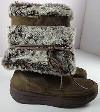 Skechers Tone-Ups Boots Womens Brown Faux Fur Mid-Calf Pull On Shoes Size 7