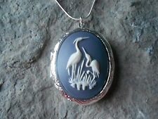 HERON, STORK, CRANE. BIRD CAMEO SILVER PLATED LOCKET - EXPECTANT MOM, QUALITY