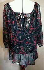 Size 12 black red floral sheer sequin detail, 3/4 sleeve 2 piece blouse​ top VGC