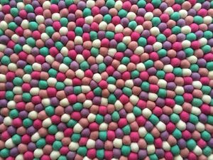 Pink color Felt Ball Nursery Area Rugs Choose Size Wool Round Freckled Carpet