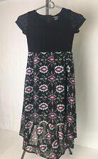 Girls Dress Size 7-8 M by Xhilaration High/Low Hem Short Sleeves Black Pink Whit