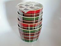 222 Fifth Wexford Christmas Holiday Plaid Appetizer Rice Bowls Porcelain SET 4