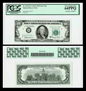 ~**STAR**~ FR.# 2163-G* 1963-A $100 DOLLAR BILL  FEDERAL RESERVE ~ ~ PCGS 64 PPQ