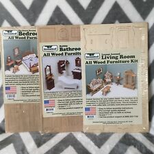 Lot of 3 New Greenleaf Dollhouse Wood Furniture Kit Bedroom Bathroom Living Room