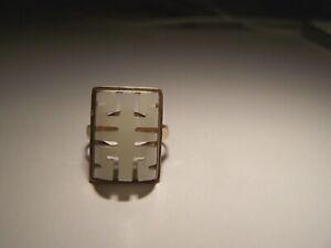 VINTAGE CHINESE 10K GOLD & WHITE JADE RING SIZE 5.5 4.7 GRAMS