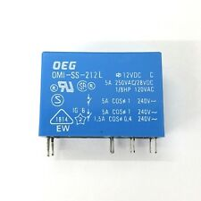 NEW OEG OMI-SS-212L DPDT 12V DC Coil PC Mount Relay 5A @ 250VAC, 28VDC Contacts