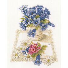 LANARTE  0169670  Fleurs bleues  Kit  Broderie  Point de Croix  Compté