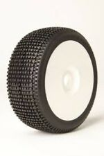James Racing Y-Zip 1/8 Buggy Tire Pre-Mounted Glued White Dish Rim Wheel Soft