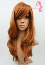 W86 Auburn Dark Ginger Long Wavy Realistic Skin Top Ladies Wig