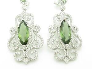 PLATINUM SILVER DIAMOND SET PAVE GREEN & WHITE VINTAGE CHANDELIER BRIDAL EARRING