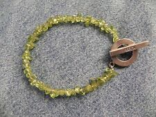 "Peridot Bracelet with Sterling Silver Toggle says ""Luck"""