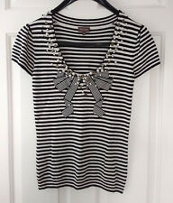 PHASE EIGHT Black & Cream Striped Knitted Beaded Bow Top, Size 12