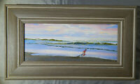 BEACH original oil on wood panel painting artist signed framed ocean seascape