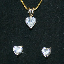 Heart Pendant Necklace Matching Stud Earrings Set 14k Yellow Gold over 925 SS