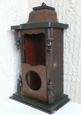 "۞ 17 x 9"" OLD ANTIQUE HAND MADE HUGE WOODEN WALL HANGING CLOCK BOX"