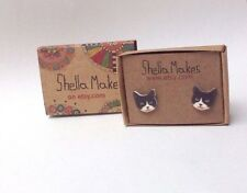 Cat stud earrings, vintage style cat stud earrings, animal jewellery, FREE POST