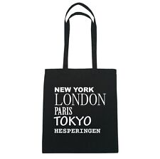 New York, London, Paris, Tokyo hesperingen - Borsa di iuta Borsa - colore: Nero