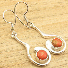 """Extra Ordinary New Earrings 1 7/8"""" 925 Silver Overlay Orange Copper Turquoise"""